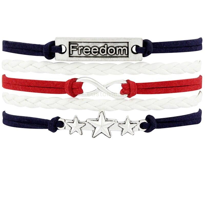 Freedom Star Cross Skull Scissors Bicycle Bike Branches Believe Owls Heart Infinity Charm Bracelets Blue Red Women Men Jewelry