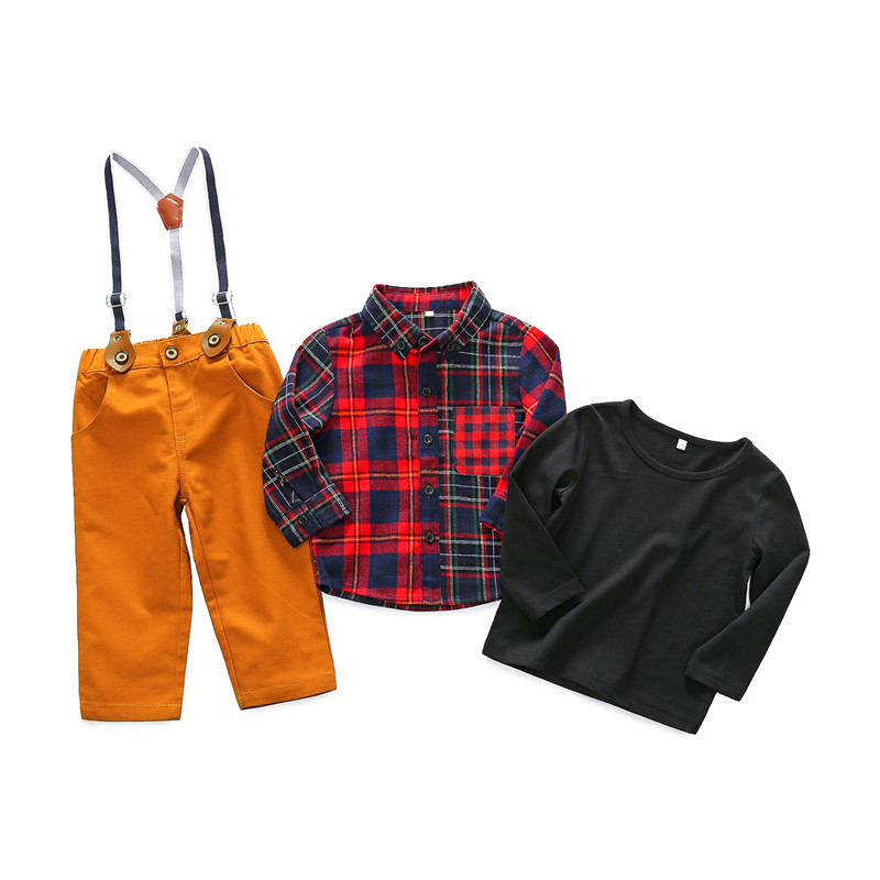 Baby Boy Clothes 2018 Spring New Gentleman Plaid Clothing Suit For Newborn Baby 3pcs Shirt + Suspender Trousers Boys Clothes Set 2018 spring newborn baby boy clothes gentleman baby boy long sleeved plaid shirt vest pants boy outfits shirt pants set