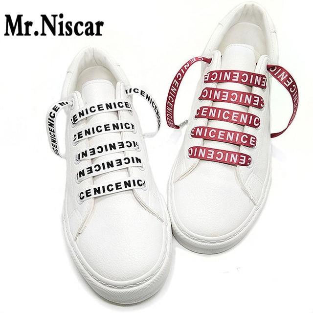 f2a6be2c11f4 Cheap 1 Pair 1CM Wide Flat Shoelaces with Letters Cool Shoe Laces for  Sneaker Sport Shoes 70cm 80cm 90cm 100cm 120cm 140cm 150cm