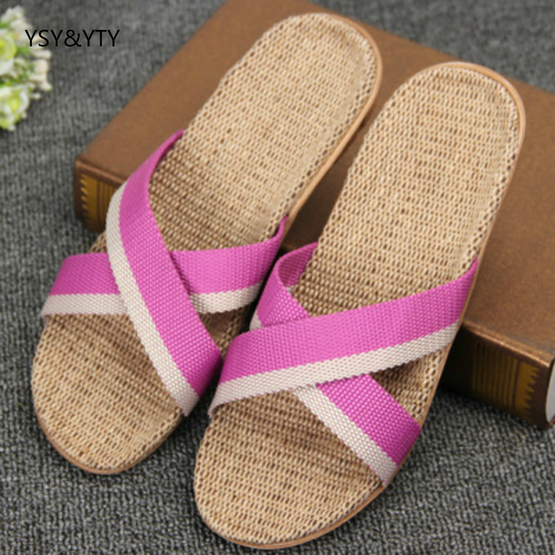 Flax Slippers Sandals Shoes Woman Spring Floor Summer Home Indoor No Heavy-Bottomed