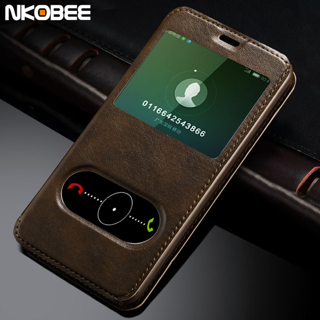 NKOBEE Luxury Coque For MeiZu M2 Note Case Hard Back Skin Mobile Phone Flip Leather Cover For MeiZu M2 Note Window Smart Calling