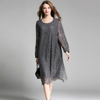 Large Sizes 4XL High Quality Lace Dress 2018 Spring Runway Fashion Woman Loose Vintage Dress Hollow Out Sleeve Female Dress JR05