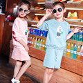 2017 Little Kids Teenage Girl Pettiskirt Skirt Long Sleeve Blouse 2 PCS Set Casul Chilren Clothing Sets Cartoon Print