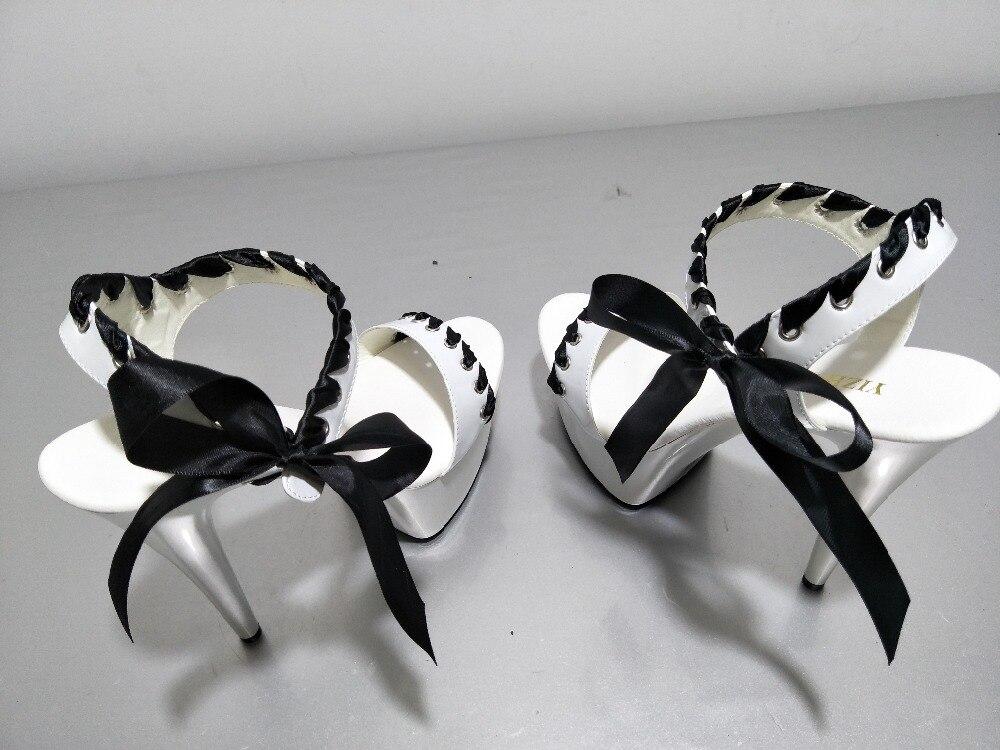 blanco Y De Sabor Encantadora Chalaza Alta Adorno Moda Puro Ultra Cm Bowknot Princesa Zapatos Sandalia 15 Color Tentación Con Negro xaEC7HwW