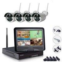 Plug & Play 4CH NVR Wi Fi CCTV системы 4 шт. 720 P беспроводной комплект с 10 дюймов мониторы безопасности viMotion обнаружения электронной почты