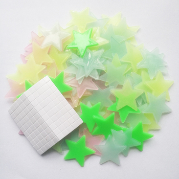 50pcs 3D Stars Luminous In The Dark Glow Stickers Fluorescent Pvc Wall Art Home Decals For Kids Room Ceiling Wall Decoration - Colors in Random