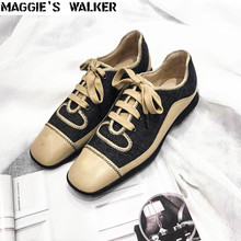 Maggie's Walker Women Fashion Spring Canvas Casual Shoes Vintage Platform Low-top Lacing Shoes White /Black Size 35~39