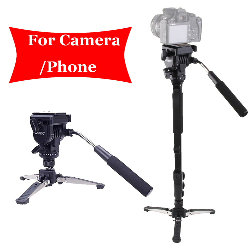 For Canon Nikon DSLR Camera Yunteng 288 Pro Photography Monopod VCT-288 + Fluid Pan Head Ball + DV Unipod Phone Clip Holder ulanzi vct 288 58in photography tripod monopod unipod with fluid pan head quick release plate for iphone canon nikon dslr camera