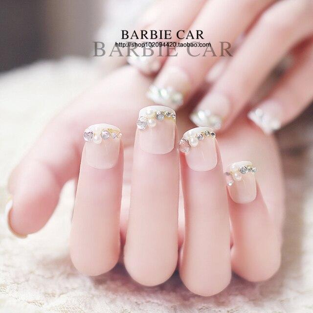 French pure color false nails set Cute Japanese fake nails 3D Bride ...