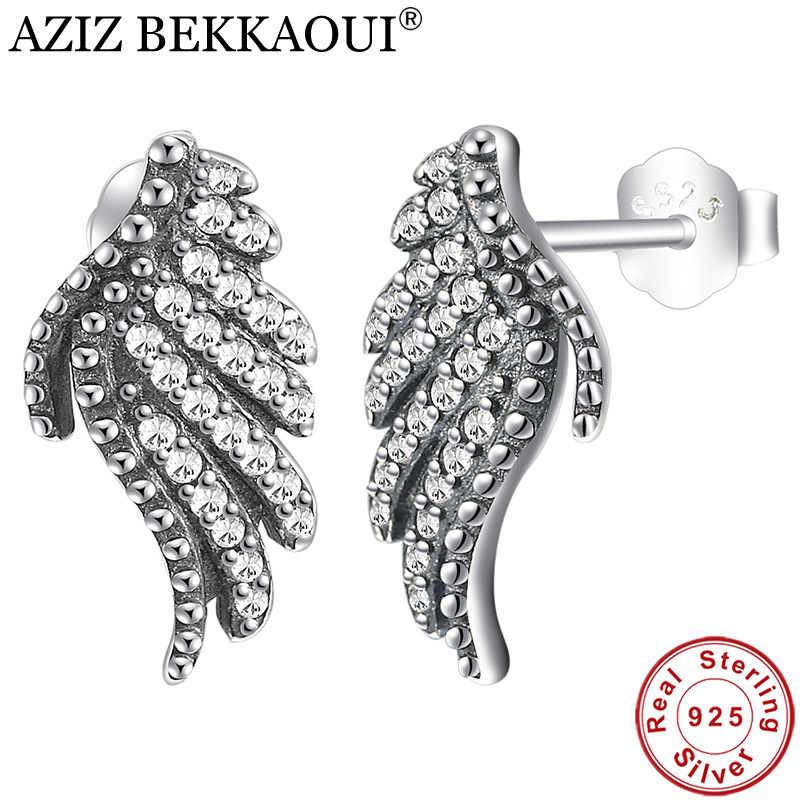 AZIZ BEKKAOUI 925 Sterling Silver White Crystal Feathers Phoenix-Wing Stud  Earrings Elegance Earrings for