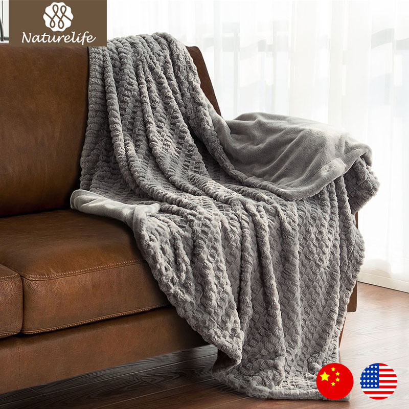 Naturelife faux fur blanket warm soft fleece blankets for Fur throws for sofas