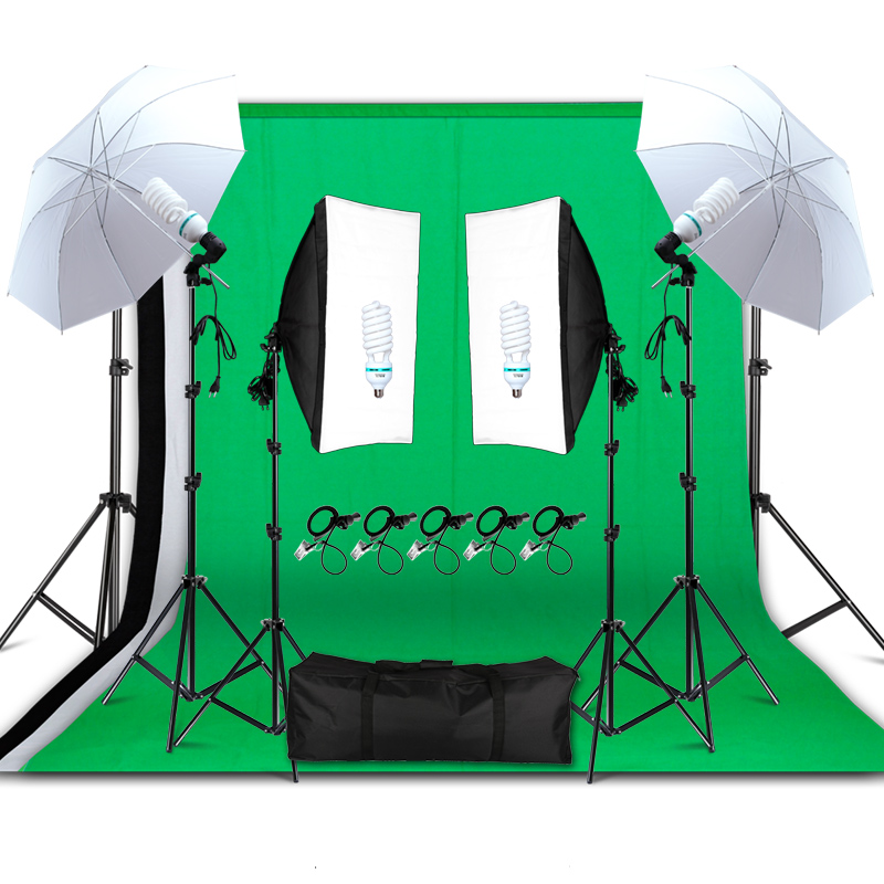 Professional Photography Lighting Equipment Kit Soft Light Umbrella Softbox Holder Light Bulbs Socket Backdrops Photo Studio Kit