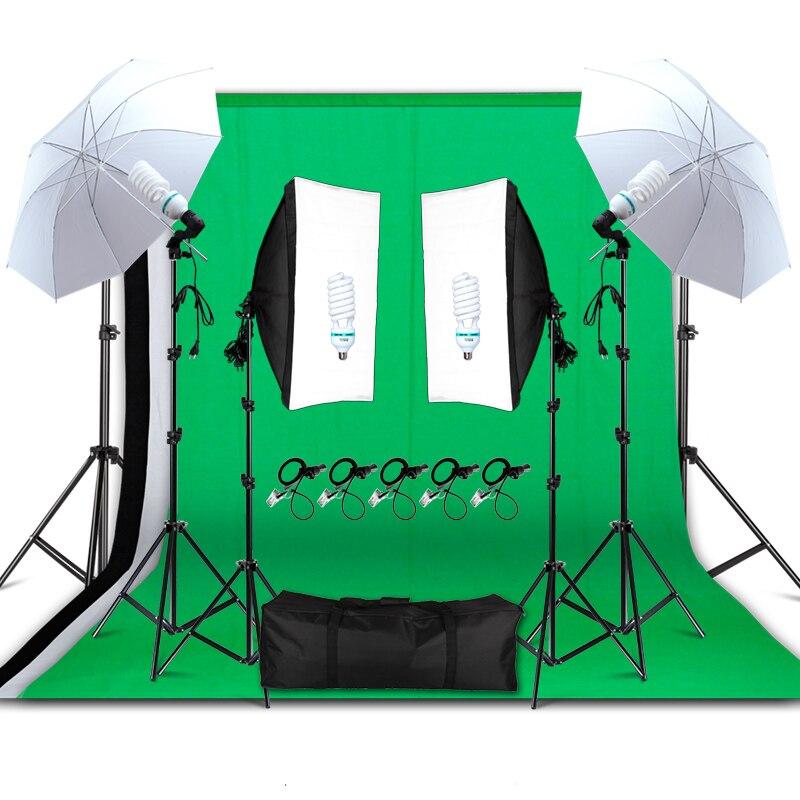 Professionnel Photographie Matériel D'éclairage Kit Lumière Douce Parapluie Softbox Titulaire Ampoules Socket Décors Photo Studio Kit