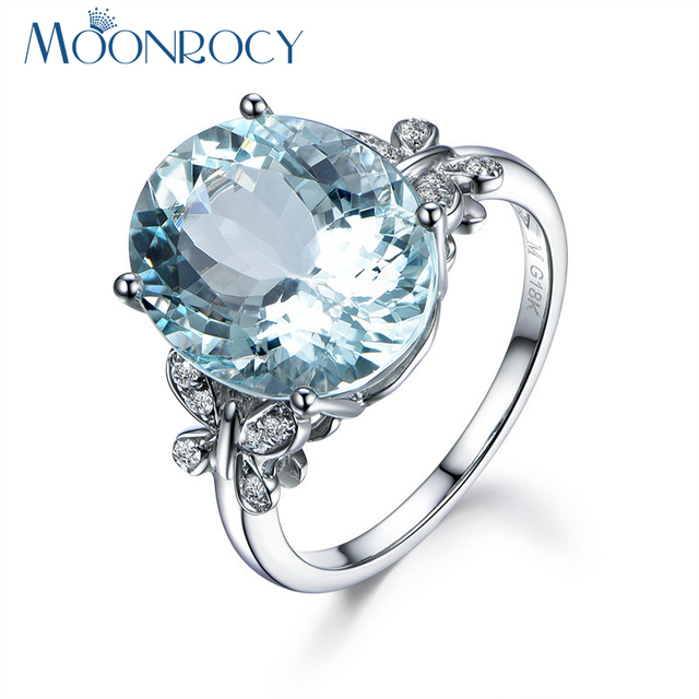 MOONROCY Crystal Rings Butterfly Silver Color Cubic Zirconia Wedding Light Blue Ring  for OL Women Trendy Jewelry Dropshipping