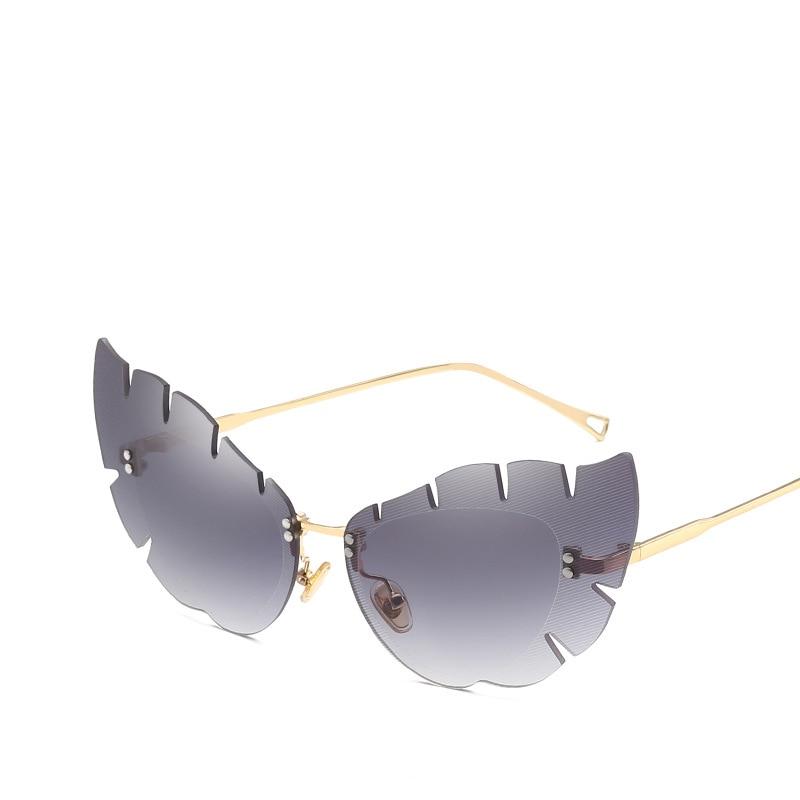 2018 Blätter Federn Designer Vintage Cat Eye Sonnenbrille Frauen - Bekleidungszubehör