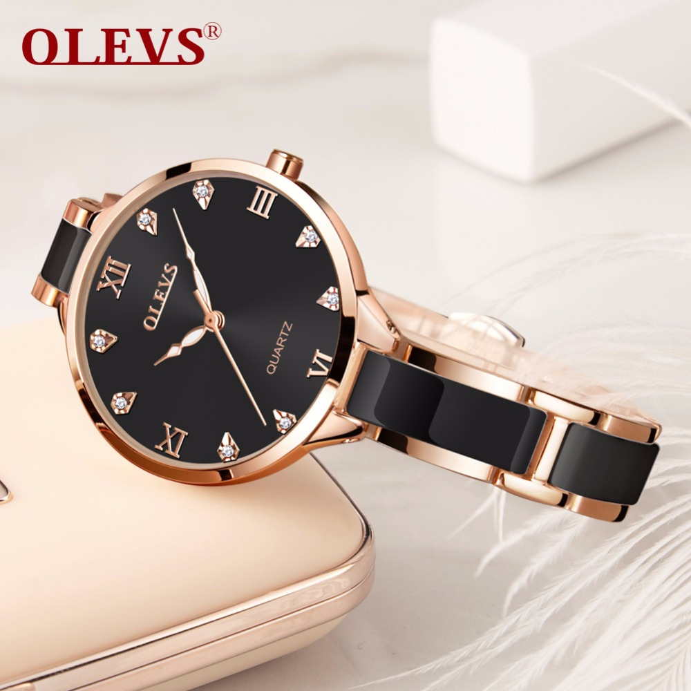 OLEVS Rose gold Women watches bracelet watch Ladies relogio feminino womens ceramics watches fashion Luxury waterproof Clock NEW