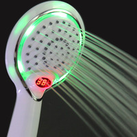 LCD Hand Shower Led Handheld Shower Head With Temperature Digital Display 3 Colors Change Water Powered