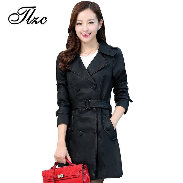 TLZC Новая Мода Леди Длинный Кожаный Пальто Плуг Размер L-4XL Звезда Же Стиль Женщины Черный Куртки Turn Down Воротник верхняя одежда