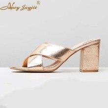 Женские шлепанцы золотистого цвета, сезон весна-осень-лето, обувь на очень высоком каблуке, модная обувь для отдыха, прошитая обувь, большие размеры 45,, шлепанцы на блочном каблуке