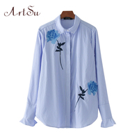ArtSu New Floral Embroidery Women S Blouse Kimono Ladies Ruffles Striped Office Shirts Casual Tops Blusas