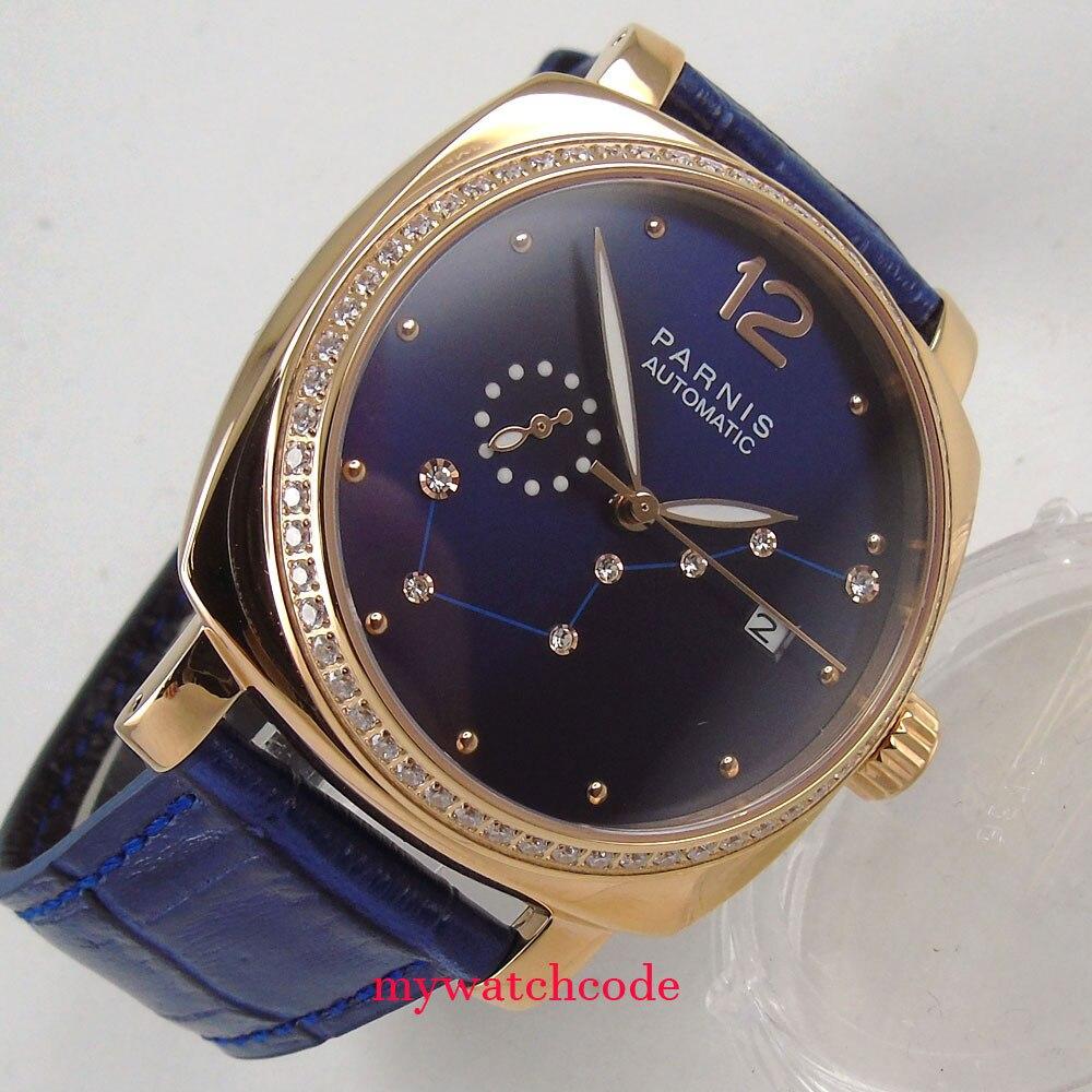 лучшая цена 39mm Parnis blue dial golden case Sapphire glass miyota automatic ladys watch