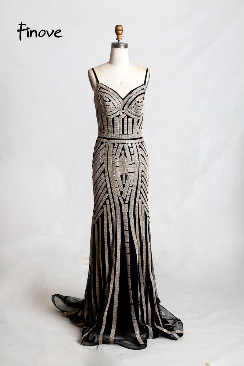 Finove/Вечерние платья цвета шампанского, элегантные сексуальные вечерние платья без рукавов с v-образным вырезом, украшенные кристаллами и бисером, длинные платья для выпускного вечера для женщин - Цвет: Black and gold