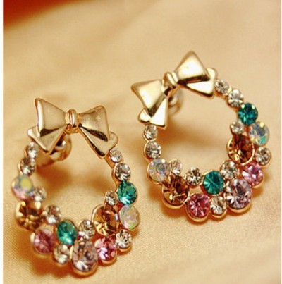 Designer Colorful Rhinestone Pearl Butterfly Bow Stud Earrings for Women