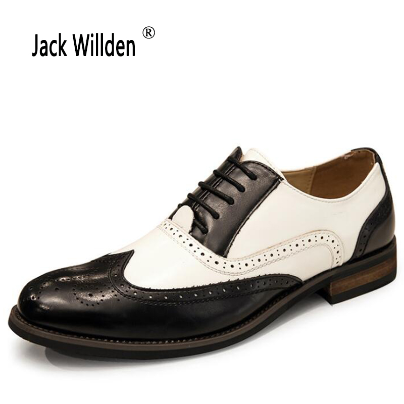 Jack Willden Classic Brogue Style Fashion Men Genuine Leather Dress Shoes White Black Male Wedding Party Oxford Shoes
