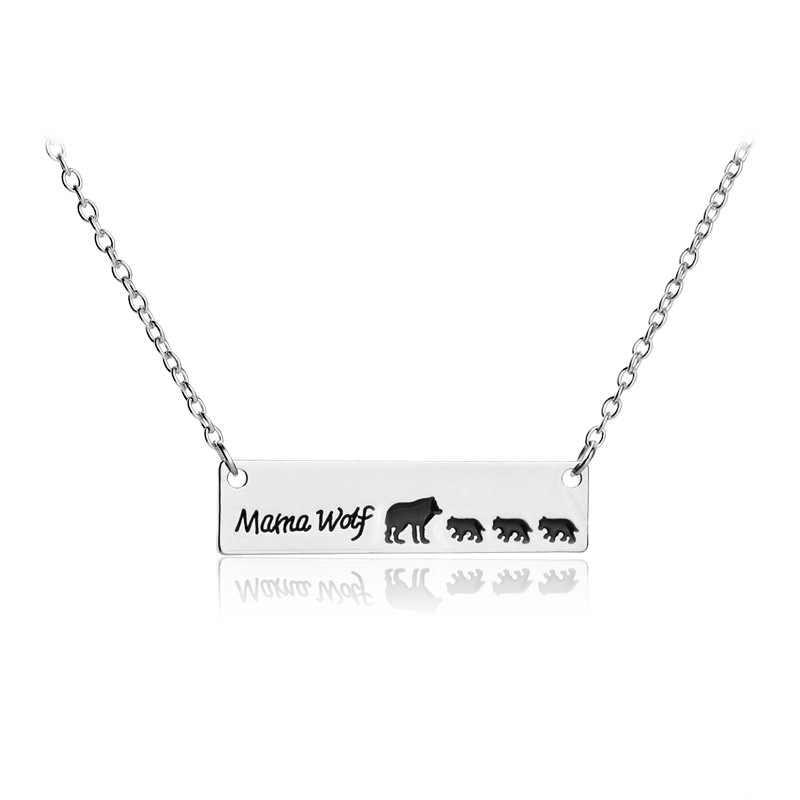 """Nieuwe Mode Moeder Dag Gift """"Mama Wolf"""" Wolf Moeder En Een Tow Drie Baby Wolf Charm Vrouwen hanger Ketting Sieraden"""