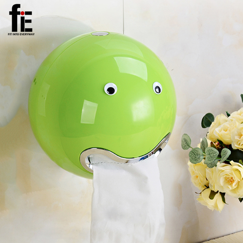 fiE Creative ABS Plastic Toilet Paper holder Bathroom And Desktop Useage Colorful Roll Tissue Box With Free Eye Stickers