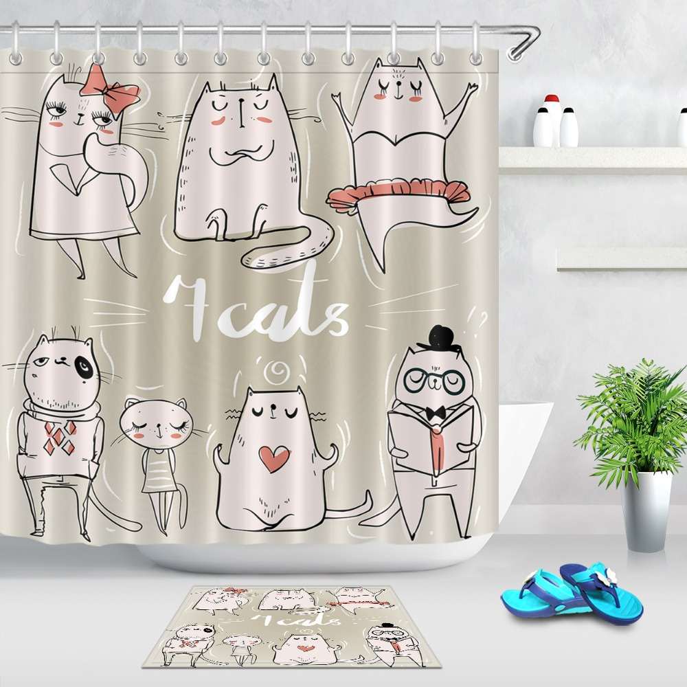 LB Cute Cartoon Kittens Shower Curtain Funny Doodle Cats