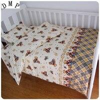 Promotion! 3PCS Cartoon Baby Bedding Set Pink color Cotton Crib Bedding ,(Duvet Cover+Sheet+Pillowcase)