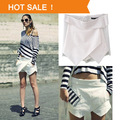Spring 2 Colors Womens Tiered Shorts Irregular Zipper Trousers Culottes Short Skirt   summer slim hip step skirt short skirt