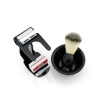 WEISHI Safety Razor 9306 EL Matte Chromium With Black ACRYLIC Shaving Brush Stand 40PCS Blades Bowl