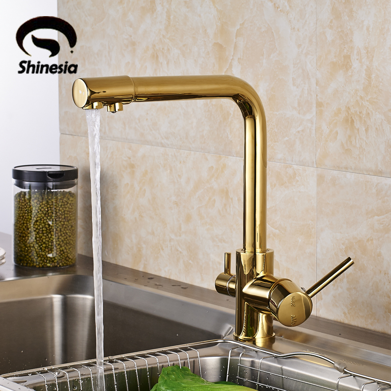 luxury gold solid brass kitchen sink faucet double handles pure water mixer tap drinking water tap - Brass Kitchen Sinks