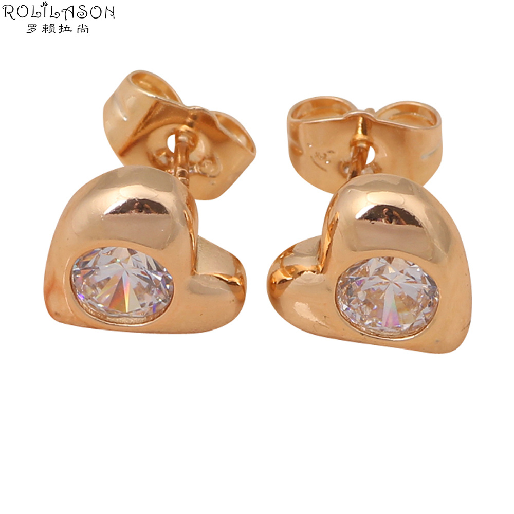 Hotselling White Crystal Zircon Stud Earrings For Women Garnet Gold Plated  Fashion Jewelry Je746(china
