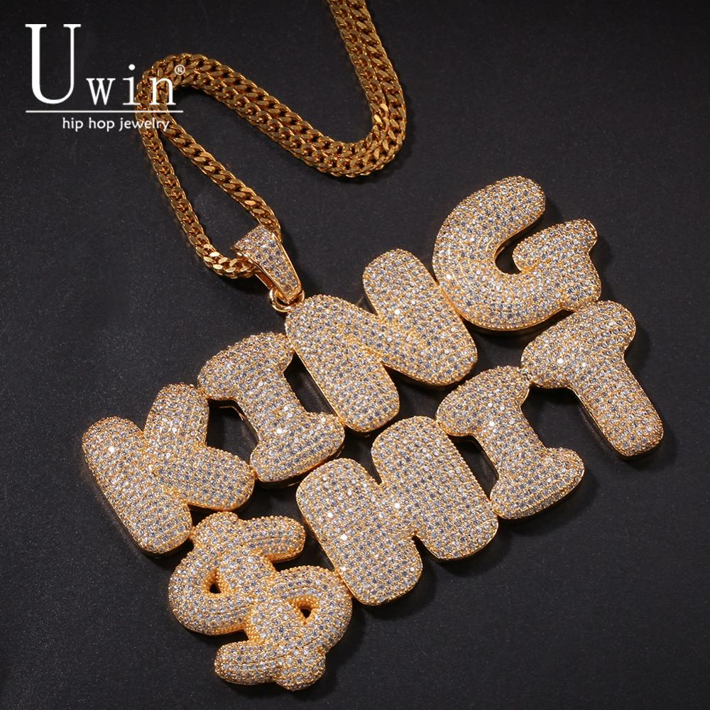 UIWN Name Necklace Gold For Men Customize Bubble Letters Pendant Silver Rose Gold Color Commission Gift Jewelry Cuban Rope Chain