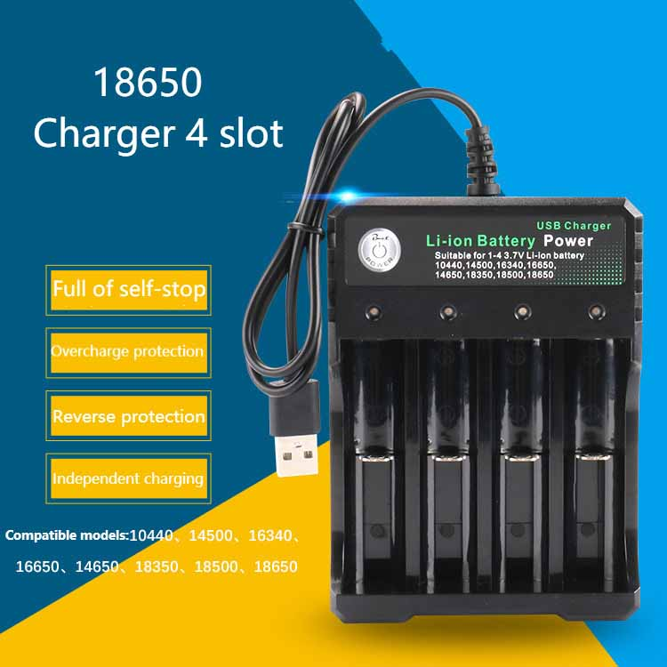 18650 Charger 4 slot Li-ion battery USB independent charging