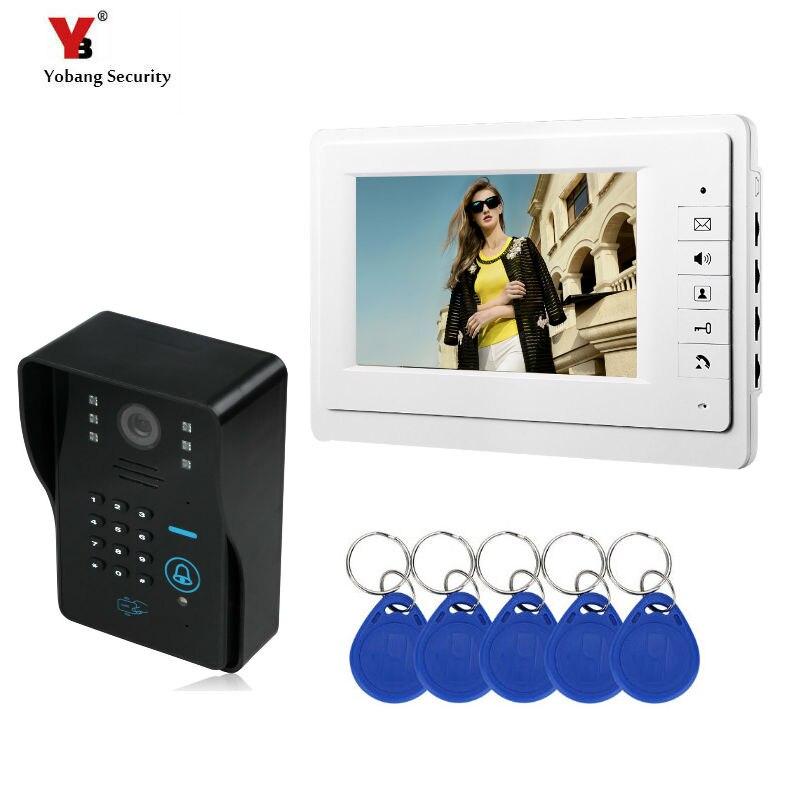 SmartYIBA 7 Inch Home Security Video Door Bell Number Code Rfid Intercom Doorbell IR Camera Wired Video Door Entry Call System
