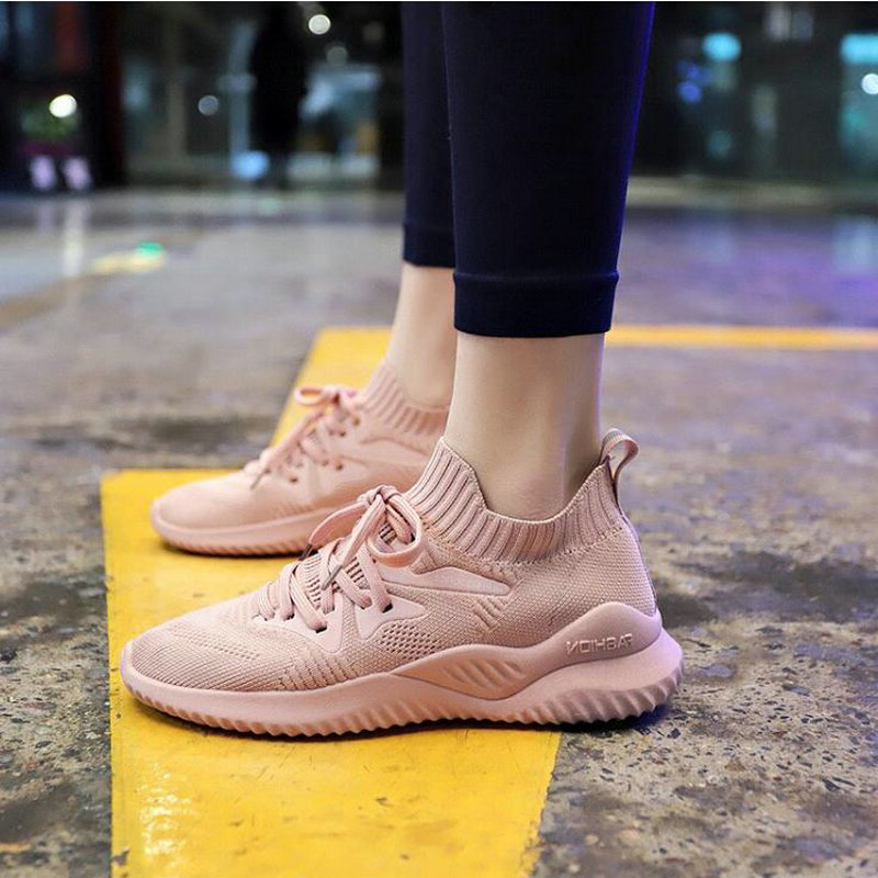 Sneakers Ladies Running Shoes Women Sneakers Sport Breathable Zapatillas Hombre Mujer For Girls Light Sock Shoes Flying Weaving He-33 Street Price