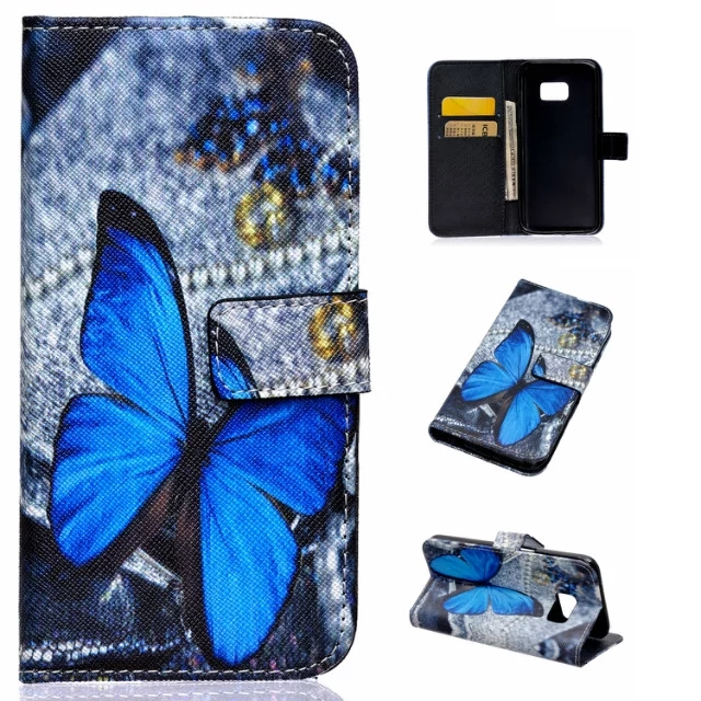 New 2017 Butterfly dog Owl Luxury Bag Card Holder PU Leather Wallet Phone Case Stand Flip Cover for Samsung Galaxy S7/S7edge