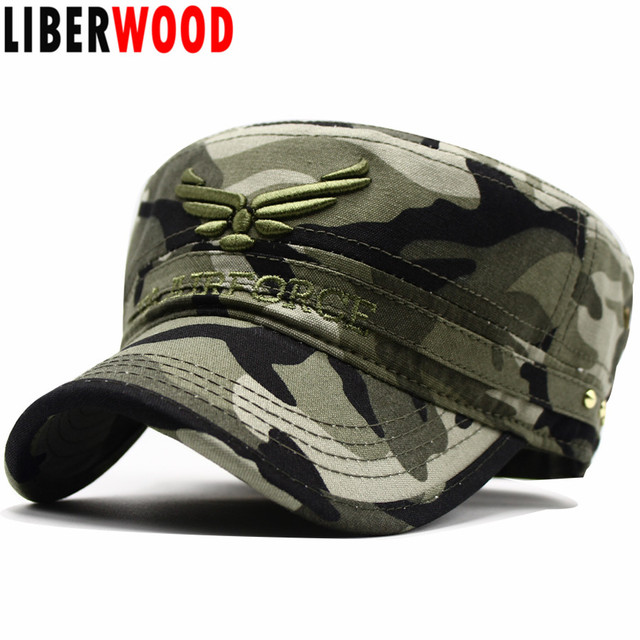 367fcf7cb95 LIBERWOOD U.S. Airforce USAF Wings Embroidered Hat Men and Women Flat Top hats  cap camouflage camo Adjustable Buckle cap