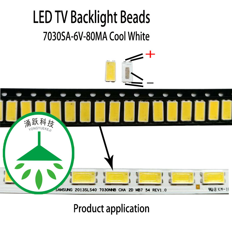 200pcs/lot repair tv <font><b>led</b></font> backlight bar <font><b>led</b></font> patch beads 7030 <font><b>6v</b></font> 80ma 0.5w cool white suitable for <font><b>samsung</b></font> and tcl screen. image