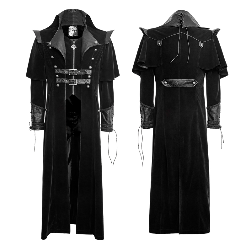 2017 Gothic Cool Leather Belts Long Cloak Coat for Men Handsome ...