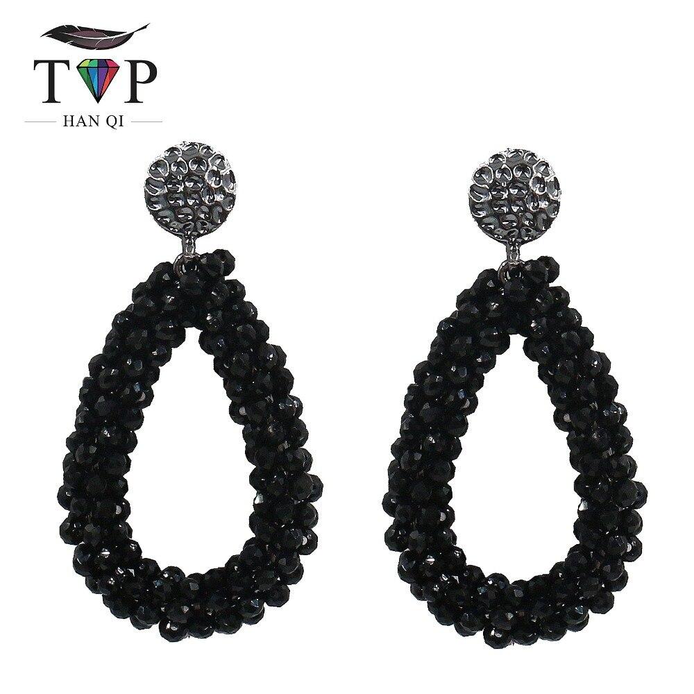 Crystal Women Earrings Dangle Drop Earring For Women Black White Hanging Earring kristallen oorbellen Bohemia Club Factory