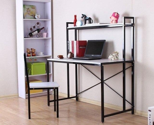 ijzer staal en hout bureau boekenkast eenvoudige desktop computer bureau combinatie boekenkast bureau bureau studie