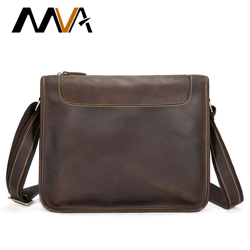 MVA Crazy Horse Genuine Leather Men Bag Men Shoulder Bags Vintage Messenger Crossbody Bags Leather Laptop Bag Male Satchels Tote mva genuine leather men bag business briefcase messenger handbags men crossbody bags men s travel laptop bag shoulder tote bags