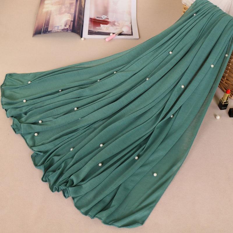 Woman Maxi Plain Pearl Beads Jersey Hijab Scarf Polyester Cotton Shawl Snood Muslim Sjaal Head Wrap Solid Foulard Stole 180*80Cm