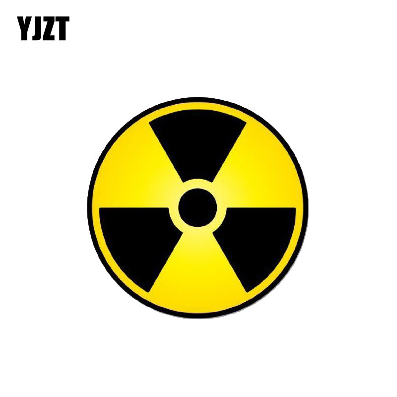 YJZT 14CM*14CM Funny Nuclear Radiation Warning Car Sticker PVC Decal 12-0757