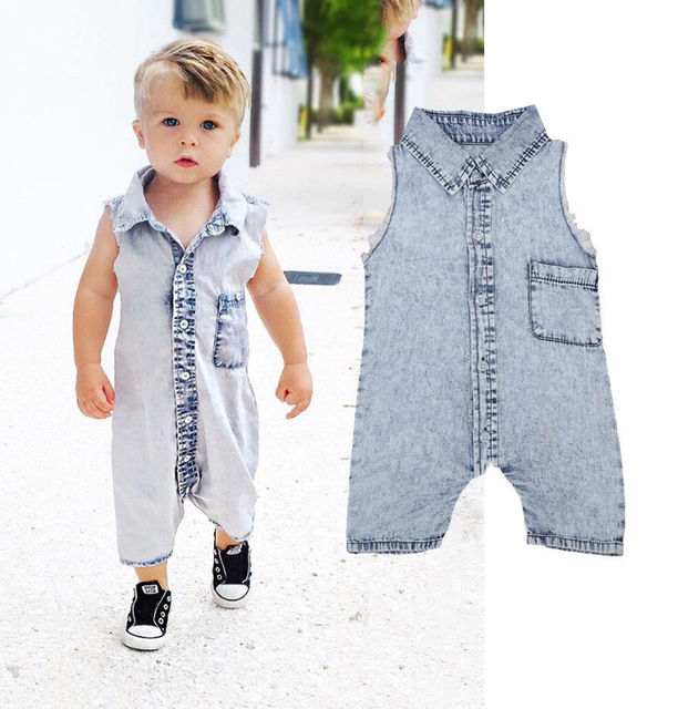 ac88c778843d Newborn Baby Boys Infant Denim Jeans One Piece Pocket Romper Infant ...